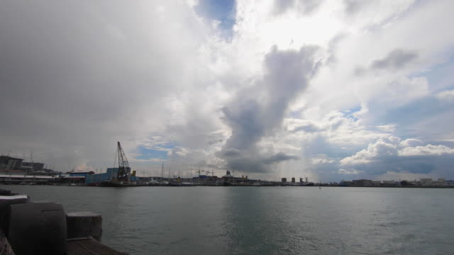 storm timelapse over auckland harbour with boats passing - auckland ferry stock videos & royalty-free footage