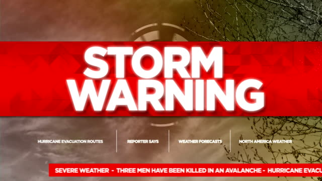 stockvideo's en b-roll-footage met storm warning broadcast tv graphics titel - meteorologie