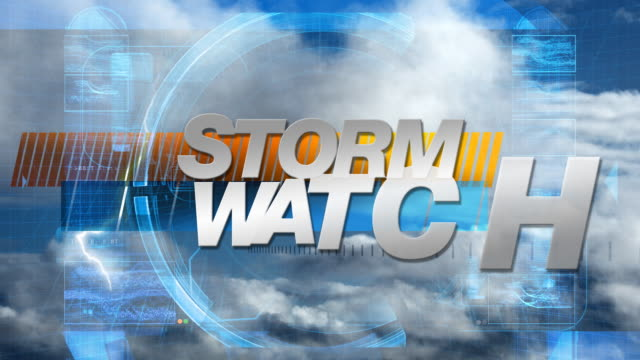 storm watch - broadcast graphics title - weather stock videos & royalty-free footage