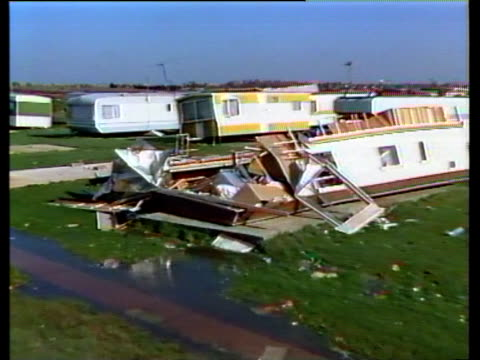 Storm wrecked caravan park debris strewn all around October Storms 1987