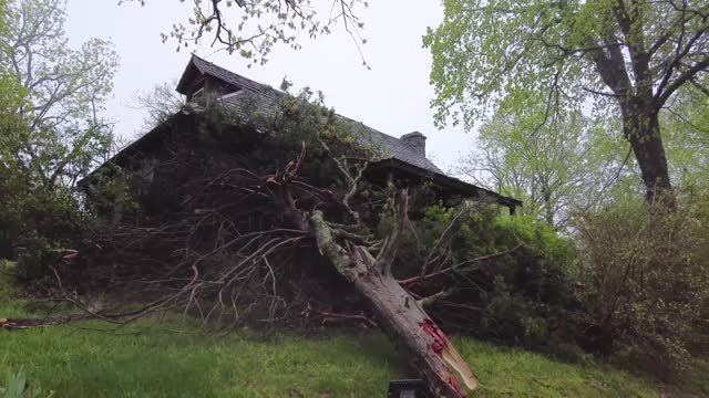 stormchaser recorded damage left by a tornado-warned storm at the historic shepherd of the hills farm in branson, missouri, after severe weather... - https stock-videos und b-roll-filmmaterial