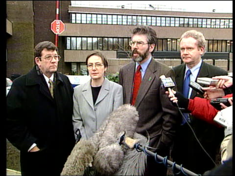 ms gerry adams mp out of car into building behind martin mcguinness mp gerry adams mp press conference sot it was a bad meeting and this sinn fein... - politics and government stock videos & royalty-free footage