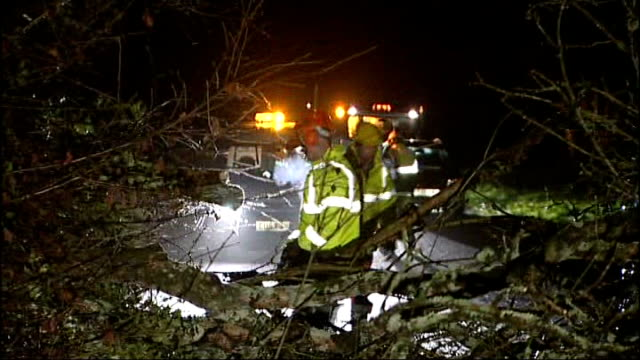 storms batter britain disrupting travel and power pembrokeshire rescue team with chainsaw cutting branches from tree blown down across road and onto... - pembrokeshire stock videos & royalty-free footage