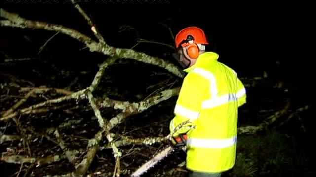 vídeos y material grabado en eventos de stock de storms batter britain disrupting travel and power wales pembrokeshire rescue team with chainsaw cutting branches from tree blown down across road and... - pembrokeshire