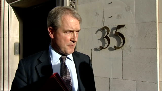 own paterson interview england london ext owen paterson mp interview on bad weather sot - owen paterson stock videos and b-roll footage