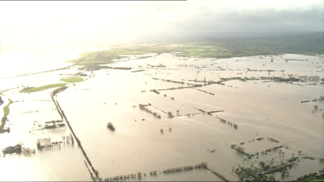 storms in south west england continue somerset air view / aerial flooded somerset levels - somerset levels stock videos and b-roll footage