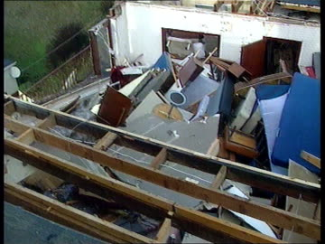 woolacombe: i/c to hotel rooms with missing roof various pix of damaged rooms david walford intvwd - extremely upsetting, will have to start again... - walford stock-videos und b-roll-filmmaterial