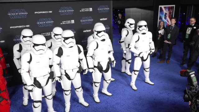 """stormtroopers at the premiere of disney's """"star wars: the rise of skywalker"""" - star wars stock videos & royalty-free footage"""