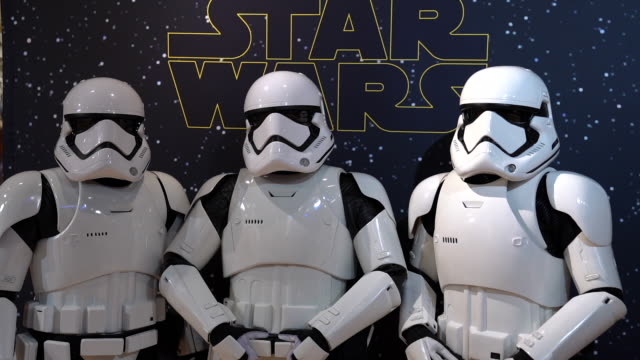 stormtroopers at the triple force friday and frozen fan fest at disney store times square on october 03 2019 in new york city - science fiction film stock videos & royalty-free footage