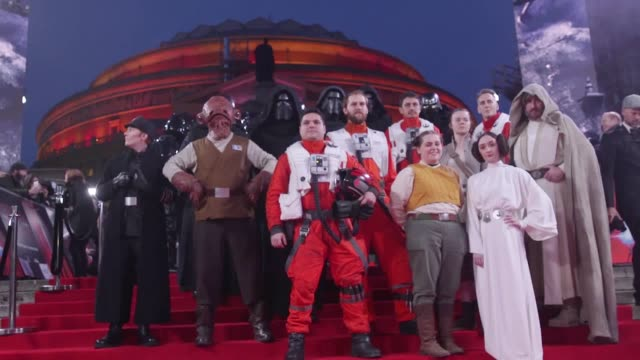 Stormtroopers attend the European premiere of Star Wars The Last Jedi held at The Royal Albert Hall in London Fans in fancy dress and with...
