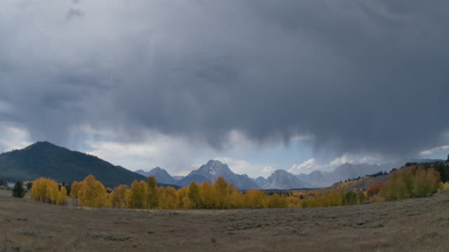t/l ws stormy clouds moving above yellow aspen trees, mt. moran and teton mountain range in distance, grand teton national park, wyoming, usa - mt moran stock videos & royalty-free footage