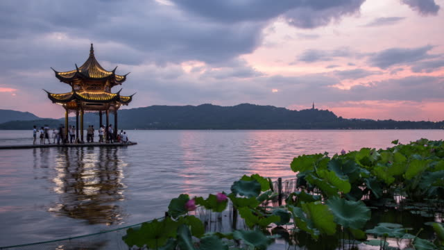 Stormy clouds over the West Lake at sunset,Hangzhou,China