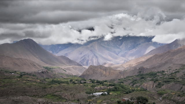 T/L stormy clouds over valley and mountains, Muktinath, Himalayas