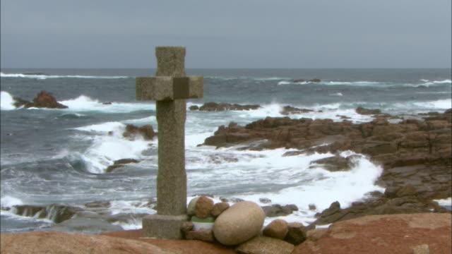 vídeos y material grabado en eventos de stock de gv stormy galicia coastline, spain - galicia