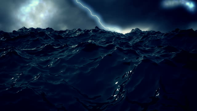 Stormy sea waves with lightning