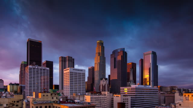 Stormy Sunset Over LA Skyscrapers - Time Lapse