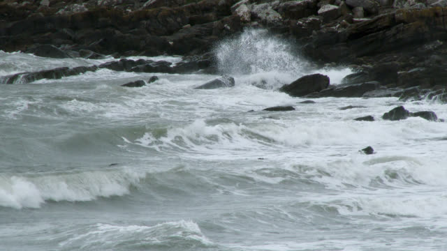 stormy waves in south west scotland - galloway scotland stock videos & royalty-free footage