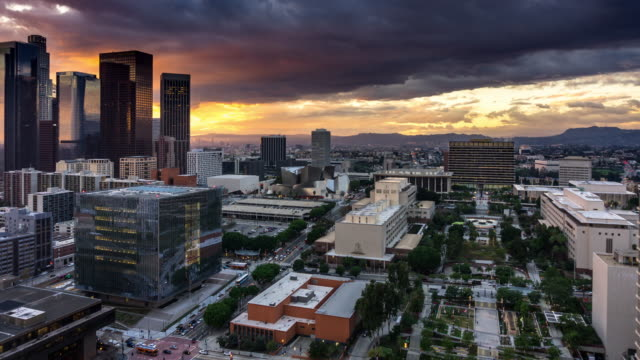 Stormy Winter Sunset in Downtown Los Angeles - Time Lapse