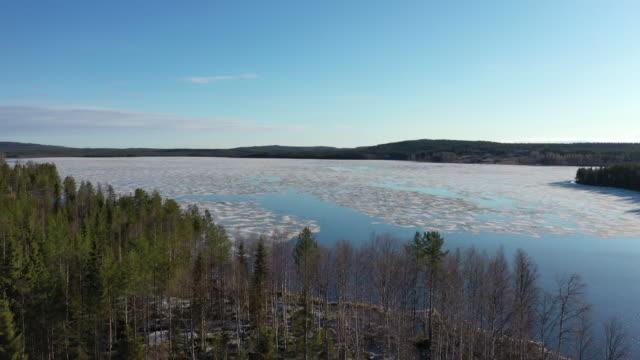 storuman lake winter scenery / sweden - sweden stock-videos und b-roll-filmmaterial