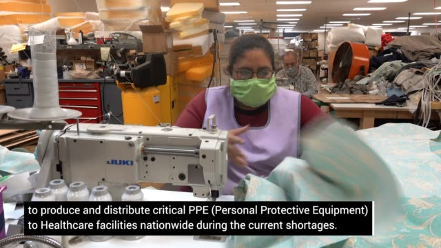 chicago area furniture maker begins producing personal protective gear. workers make personal protective equipment during the coronavirus pandemic on... - manufacturing occupation stock videos & royalty-free footage