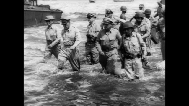 / story of corporal alfred jolley / american planes flying over the philippines / american bombers / general douglas macarthur and soldiers walk off... - general macarthur stock videos and b-roll footage