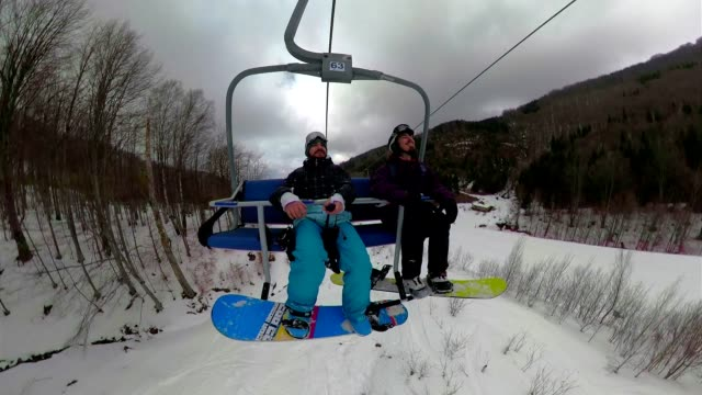 storytelling on ski lifts - ski lift stock videos & royalty-free footage