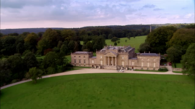 aerial, stourhead house and gardens, wiltshire, england - stately home stock videos & royalty-free footage