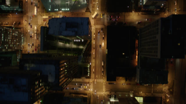 straight down aerial seattle buildings - night - seattle stock videos & royalty-free footage