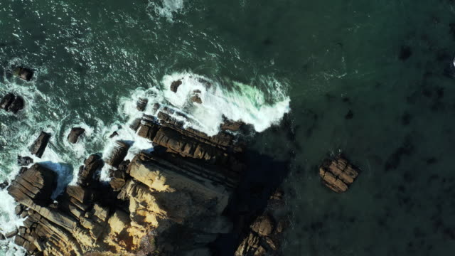 straight down arial view of waves crashing against rocks in mendocino - san francisco california stock videos & royalty-free footage