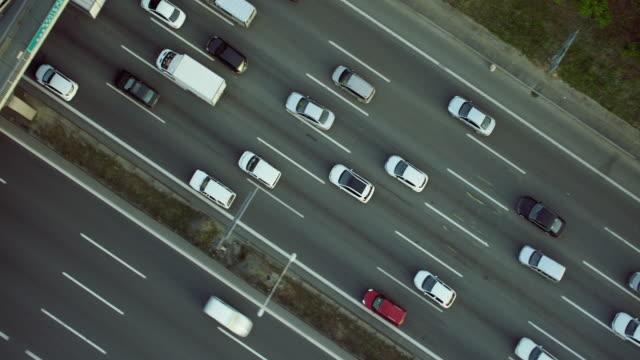 Straight Down Shot Of Vehicles On Motorway