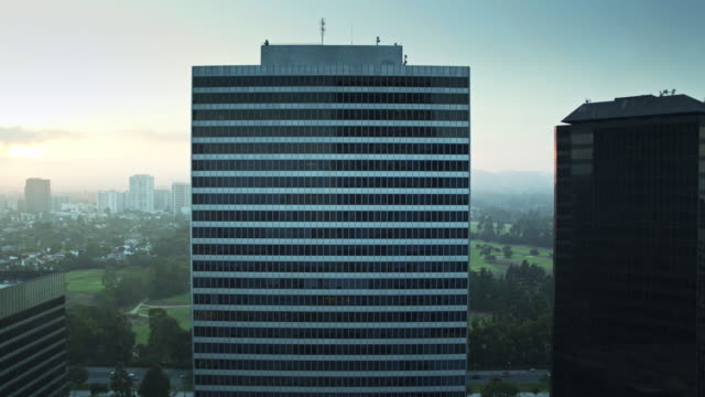 Straight on Drone Shot of Century City Skyscrapers, Los Angeles