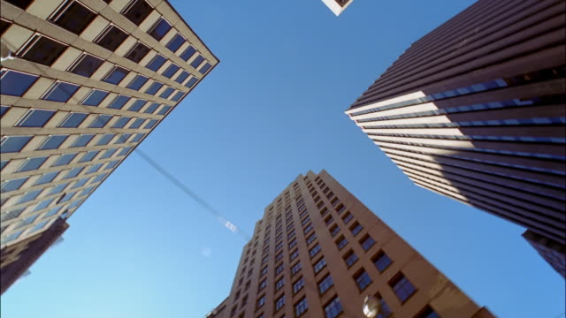 POV  straight up skyscrapers, Toronto, Ontario, Canada