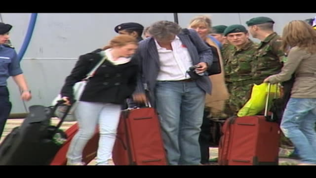 stranded british holidaymakers board hms albion navy warship following uk airspace closure spain; 20 april ship - aprile video stock e b–roll
