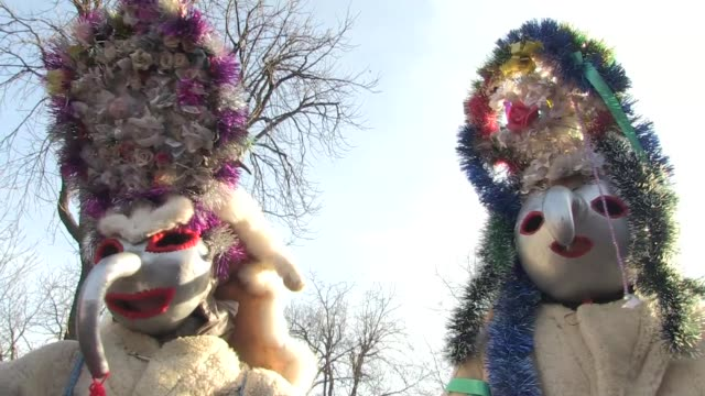 strange figures dressed in grotesque masks and sheepskins parade the streets of luncavita on christmas eve as the young men of this village in... - evil stock videos and b-roll footage