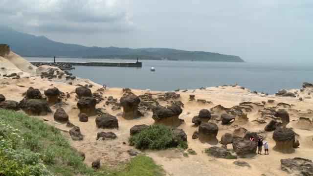 strange shaped rocks at beach in yeliu, taiwan - ロックストラータ点の映像素材/bロール