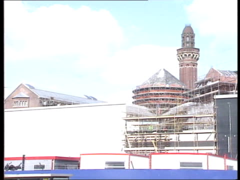 strangeways riot conviction; gv prison buildings under reconstruction l-r more ditto cms sign with prison name and reconstruction companies details... - hm prison manchester stock videos & royalty-free footage