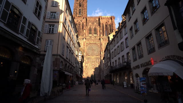 strasbourg cathedral of the city and facade of the typical houses in france. - monument stock videos & royalty-free footage