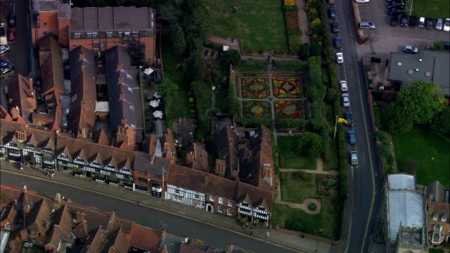 stratford-upon-avon  - aerial view - england, warwickshire, stratford-on-avon district, united kingdom - william shakespeare stock videos and b-roll footage