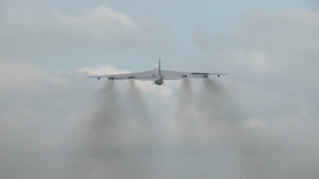 Stratofortress from Minot AFB ND takes off for the last BALTOPS 15 mission at RAF Fairford England
