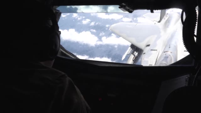 stratotanker refuels f15 eagles and f16 fighting falcons above the pacific ocean during the us pacific's largest multilateral exercise cope north 19 - north pacific ocean stock videos & royalty-free footage