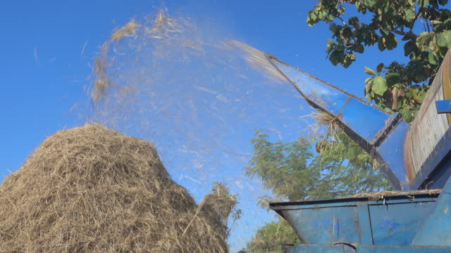 straw and agricultural machine - threshing stock videos & royalty-free footage