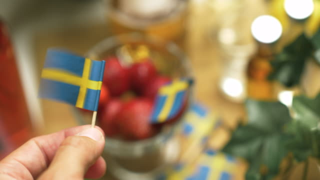 strawberries at a swedish midsummer dinner party - swedish culture stock videos & royalty-free footage