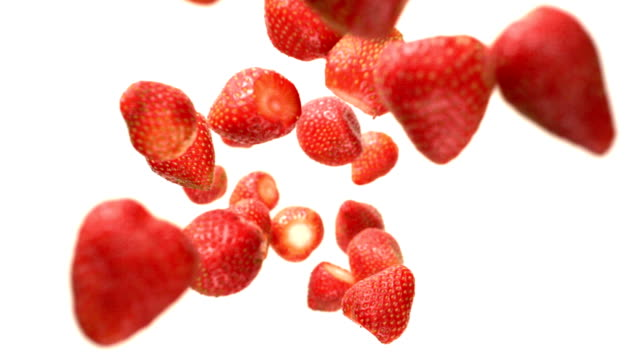 strawberries flying falling in the air - strawberry stock videos & royalty-free footage