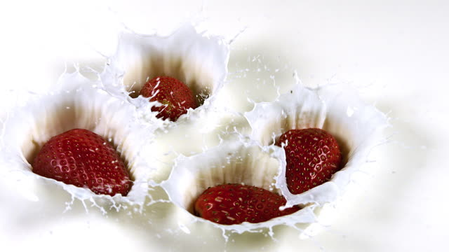 'Strawberries, fragaria vesca, Falling into Cream, Slow Motion'
