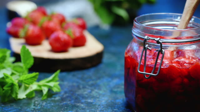 strawberries with sugar in glass tin - jam stock videos & royalty-free footage