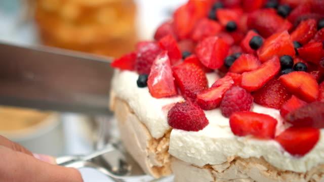 strawberry cake - meringue stock videos & royalty-free footage
