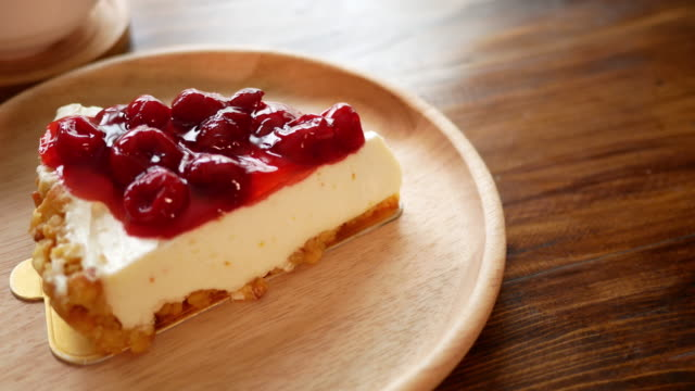 strawberry cheese cake in the cafe - tart dessert stock videos & royalty-free footage