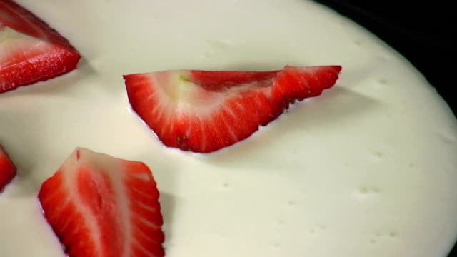 hd: strawberry in sour cream - sour cream stock videos and b-roll footage