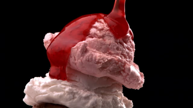 cu, zo, strawberry sauce being poured on ice cream  - serving scoop stock videos & royalty-free footage