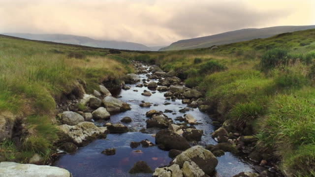 stream flowing to Sally gap in Wicklow Ireland, aerial view